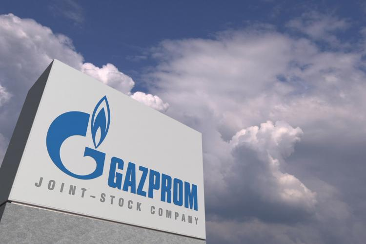 Gazprom logo on sky background (copyright by Adobe Stock/Alexey Novikov)