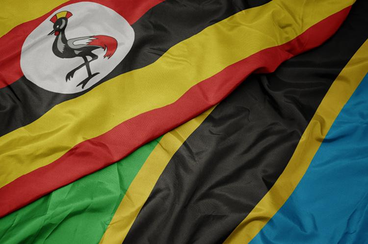 Flag of Tanzania and the national flag of Uganda (copyright by Shutterstock/esfera)