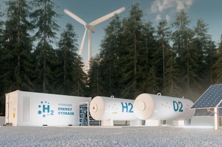 hydrogen energy storage, wind turbines and photovoltaics (copyright by Adobe Stock/malp)