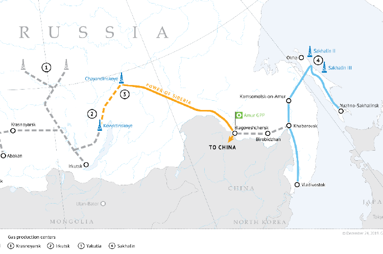Developing gas resources and shaping gas transmission system in eastern Russia (copyright by Gazprom)