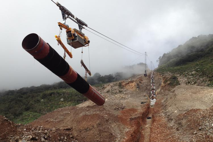 Construction Of Pipelines In Steep Terrain With Cable Crane Systems