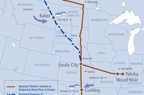 Keystone Pipeline System map, including the Keystone XL route  (© 2015 TransCanada)