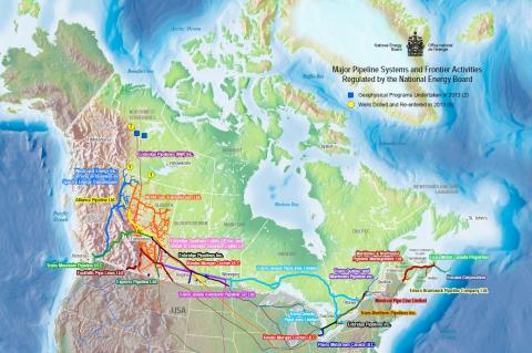 Major Pipeline Systems and Frontier Activities Regulated by the National Energy Board (© 2013 National Energy Board)