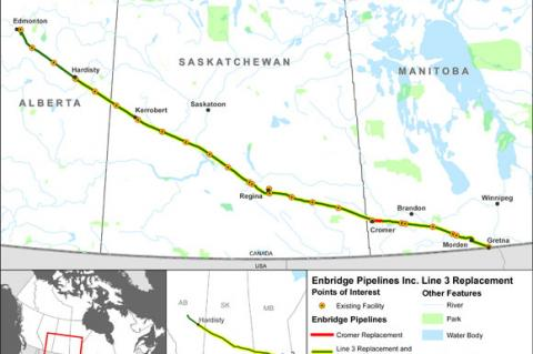 Line 3 oil pipeline between Alberta and Wisconsin (© 2014 Government of Canada)