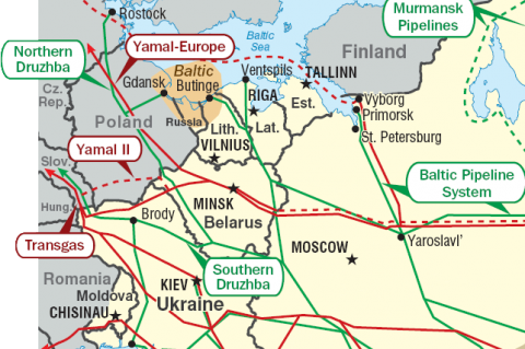 Pipelines in Eastern Europe (red: gas / green: oil)