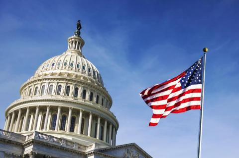American flag waving with the Capitol Hill (copyright by Adobe Stock/rarrarorro)