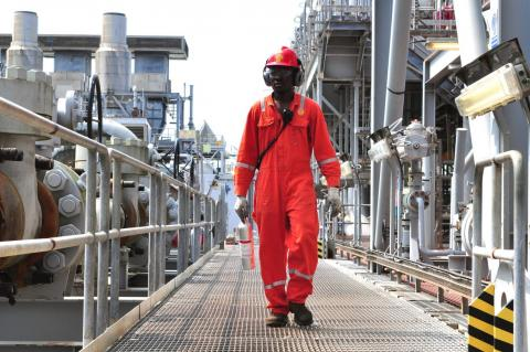 An Engineer Working on a Shell Oil-platform off the Coast of Nigeria (Copyright Shell)