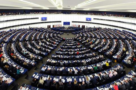 Plenary hall of European parliament in Strasbourg (copyright by Shutterstock / Ikars)