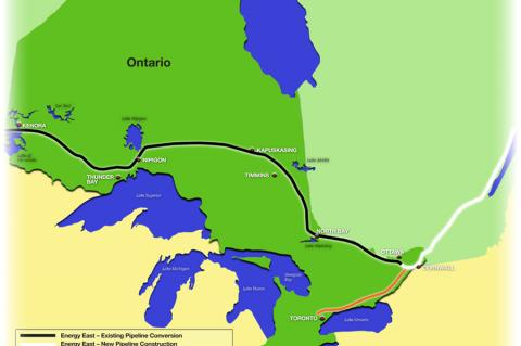 Ontario portion of the Energy East pipeline (© 2015 Ontario Energy Board)