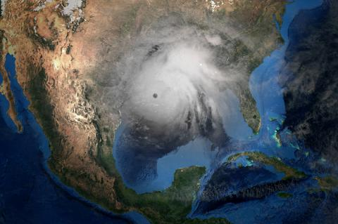 Hurricane Laura making Landfall in USA. Shot from Space (copyright by Adobe Stock/ Sasa Kadrijevic)