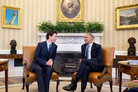 Trudeau and Obama during a meeting in Washington in March 2016
