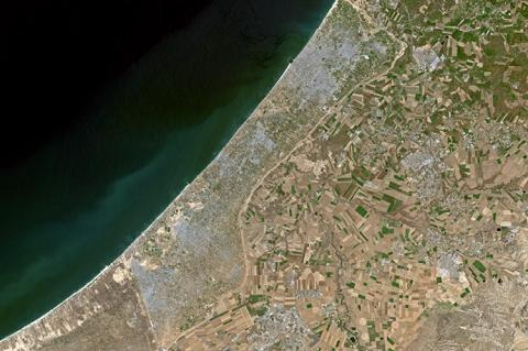 Satellite image of Gaza taken on April 11, 2019 (copyright by Shutterstock/Intrepix)