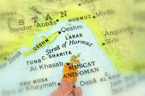 Strait of Hormuz on a map (copyright by Shutterstock/Jarretera)