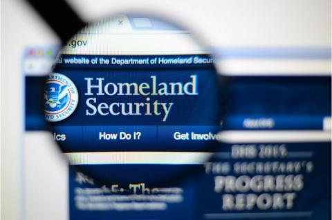The Department of Homeland Security page on a monitor screen (copyright by Shutterstock/Gil C)