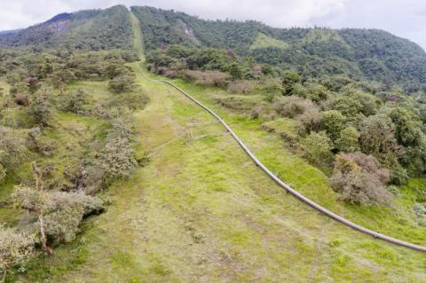 The Trans-Andean oil pipeline passing through montane rainforest in the Ecuadorian Amazon (copyright by Adobe Stock/Atelopus)