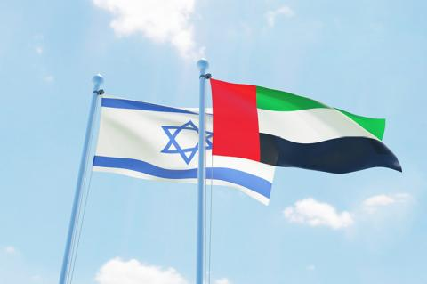 United Arab Emirates and Israel, two flags waving against blue sky (copyright by Shutterstock/Sasha_Strekoza)