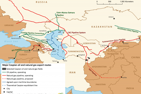 Major Caspian oil and natural gas export routes (© 2013 EIA)