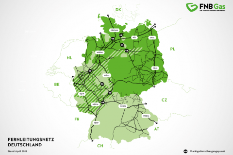 Map of the pipeline network in Germany (FNB Gas)