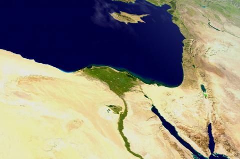 View on the Nile Delta from space (copyright by Shutterstock/Harvepino)