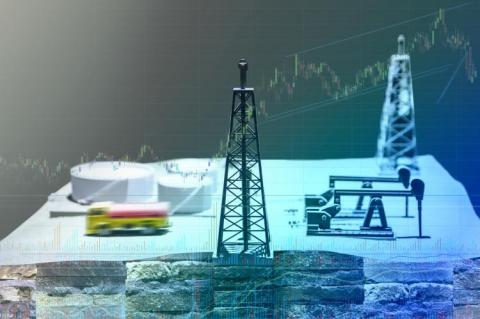 Shale gas drilling and stock market (copyright by Shutterstock/LEEDDONG)