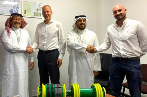 STATS Group Safari -1 left to right: Safari Oil and Gas CEO Mohammed Al-Ghosain , STATS Group CEO Leigh Howarth, Ali Al-Azman, Safari Oil and Gas Vice President - Operations and Business Development, and Mark Gault, STATS Group General Manager for Middle East.