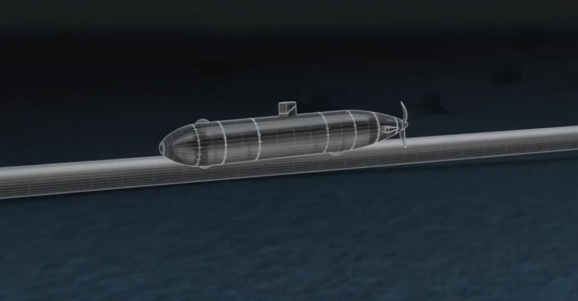 3D image of a AUV over a pipeline (copyright by ROSEN)