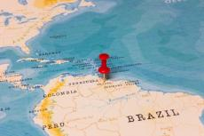 A Red Pin on Guyana of the World Map (copyright by Shutterstock/hyotographics)
