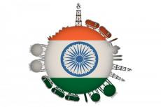LNG circle with the flag of India (copyright by Adobe Stock/JEGAS RA)