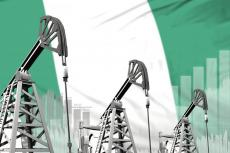 Nigeria oil industry concept on flag (copyright by Adobe Stock/Антон Медведев)
