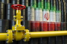 Oil pipe line valve in front of the Iranian flag on the oil barrels (copyright by Adobe Stock/Maksym Yemelyanov)